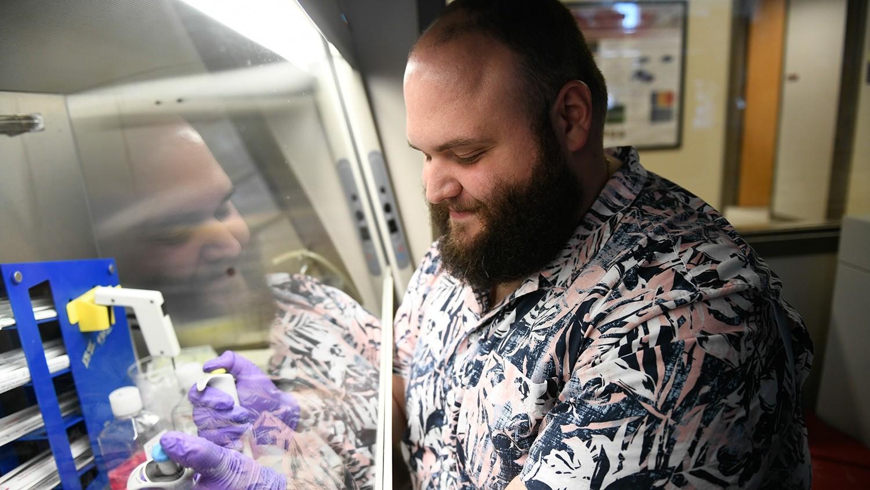 Michael Daniele in his lab.