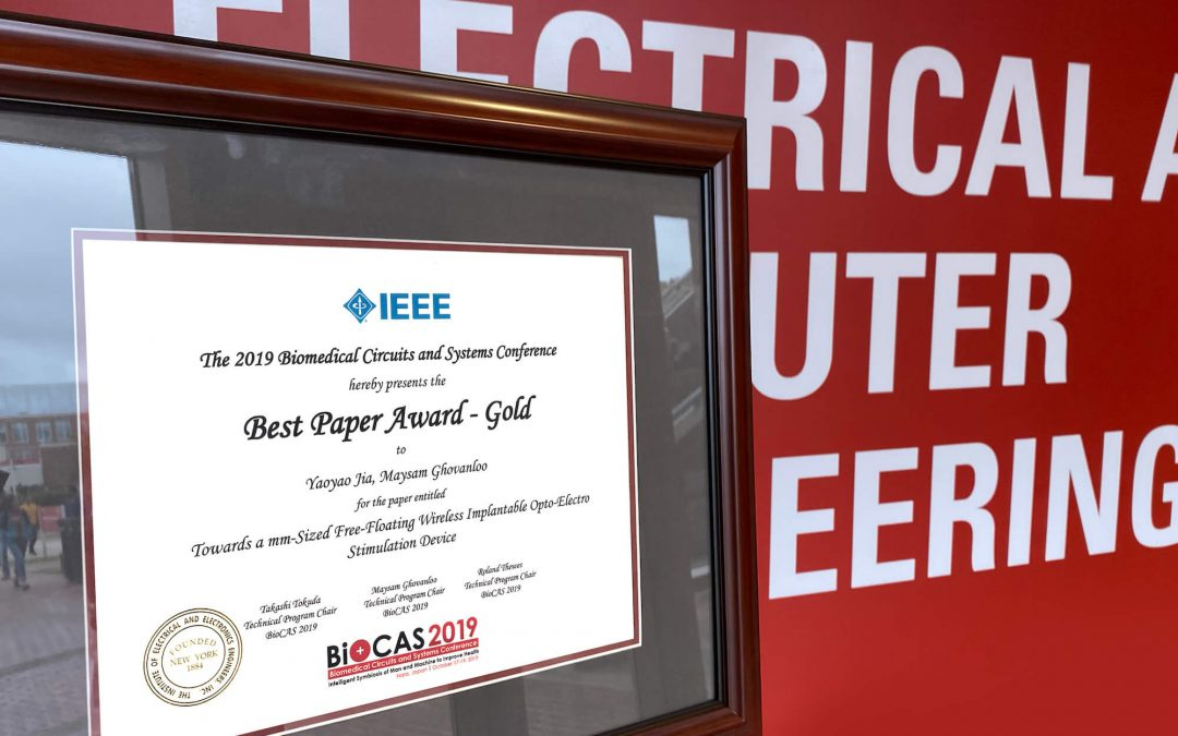 Yaoyao Jia Wins IEEE Best Paper Award